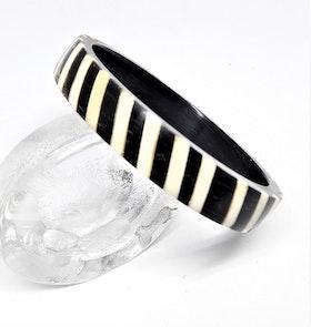 Stelt armband svart/vitt, av buffelben-/horn, H