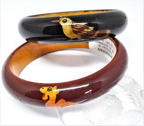 Smalt, stelt armband med målade djur, av trä