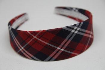 Diadem i skotskrutigt rött,  5cm