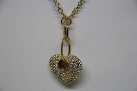 Halsband. Guldigt hjärta med glittriga stenar.