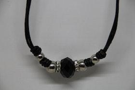 Halsband, läderrem, 24 cm. svart