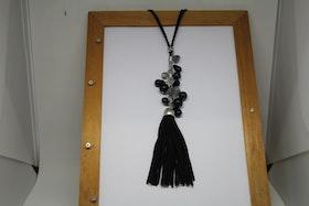 Halsband, mjuk rem, svart tofs och kulor, 40 cm