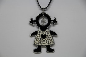 Halsband, svart kedja, 25 cm, flicka, glittrig, vit och svart