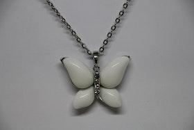 Halsband, vit fjäril, silver bak, kedja 23 cm