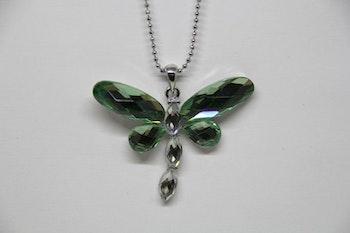Halsband, trollslända, grön, silverkedja 30 cm