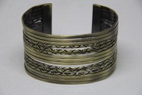 Armband , stål, rostguld med mönster