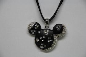 Halsband, Mickey Mouse, svart/silvriga stenar