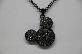 Halsband, svart kedja, hängsmycke Mickey Mouse