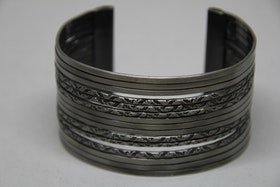 Armband, stål, silvrigt med mönster