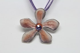 Halsband, ljusrosa, med lila rem
