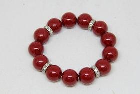 Armband, röda kulor med silvriga detaljer