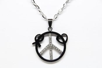 Halsband, silverfärgad kedja, hängsmycke svart/silver