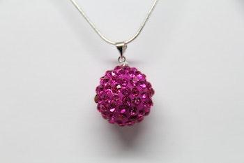 Halsband, rosa hängsmycke med glitter