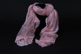 Scarf, rosa med glittrigt mönster