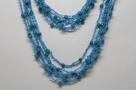 Dubbelhalsband, blått och ljusblått detaljer