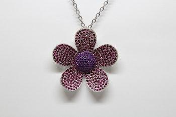 Halsband, rosa/glittrigt blomsmycke