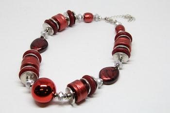Halsband, rött/silvermönster