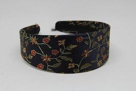 Diadem svart med blommigt mönster
