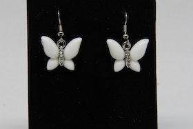 Örhänge 15 mm Vita fjärilar