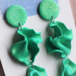 Satin tredelad grönt glitter