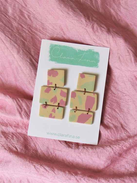 Multi shape rosa, grön, gul terrazzo