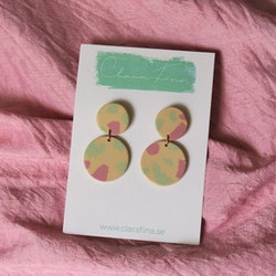 Dubbelprick mini rosa, grön, gul terrazzo