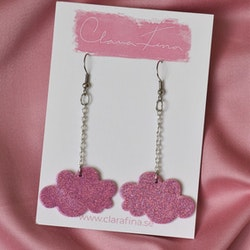 Litet glittermoln i kedja rosa glitter
