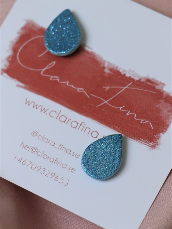 Stud blå glitterdroppe
