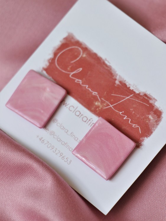 Stud kvadrat rosa marmorering