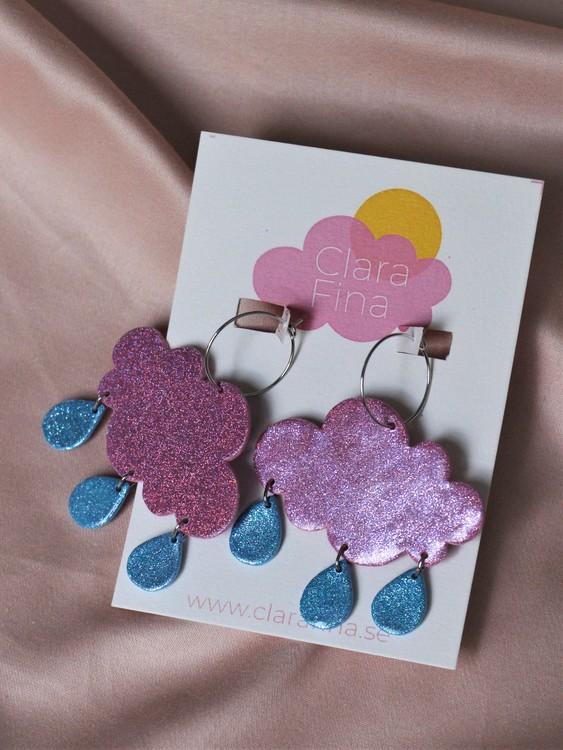 Regnmoln på ring rosa glitter