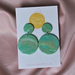Dubbelprick grön marmorering