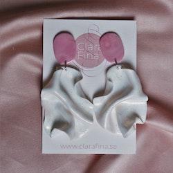 Satin oval top vitt glitter och rosa marmorering
