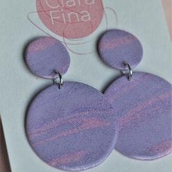 Dubbelprick lila, rosa marmorering med glitter