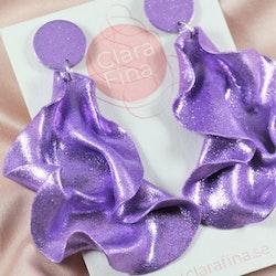 Satin round top lila glitter
