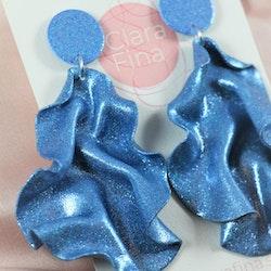 Satin round top blått glitter