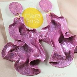 Satin round top rosa glitter