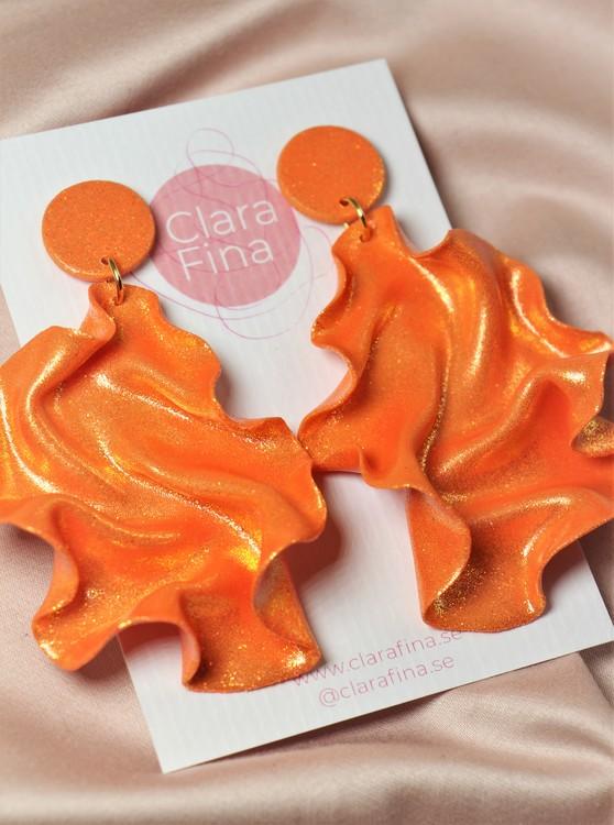 Satin Round top orange glitter