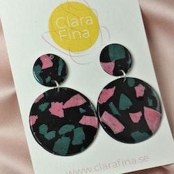 Dubbelprick svart grön och rosa