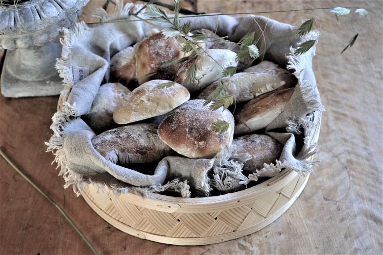 Rund brödkorg - flätad spån