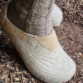Toffelsko Haflinger alibi - ulltoffel med stadig korksula - beige