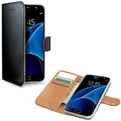 Celly Wallet fodral för Samsung Galaxy S7 - svart/beige