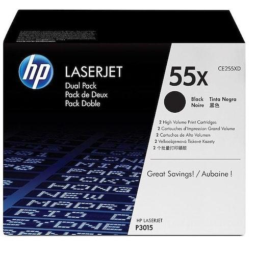 HP 55X (Svart) 2-pack CE255XD