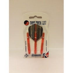 Harrows Flights & Shafts, Twin Pack, dartstolpar och flights, Orange