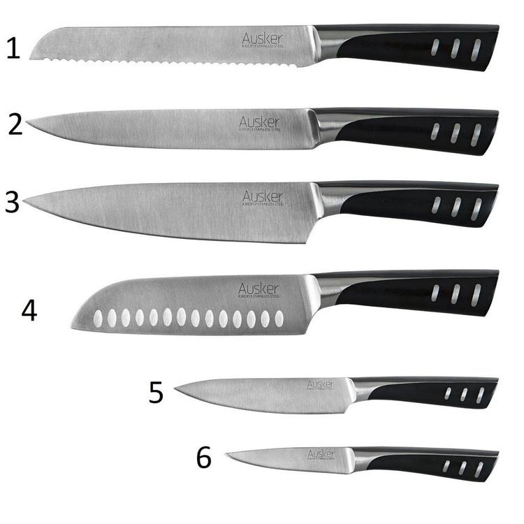 Ausker 6set Köksknivar