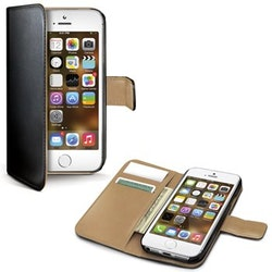 Celly iPhone 5/5S/SE wally 185, mobilskal svart