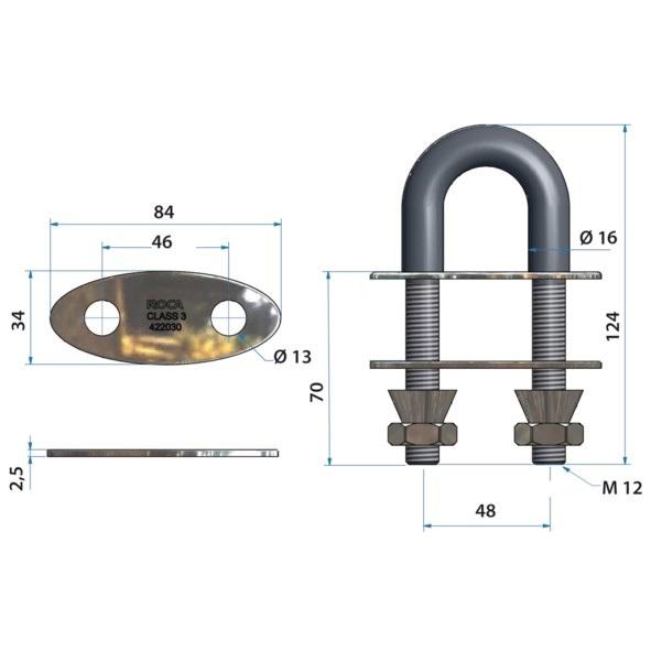 Bow Eye Class 3 L=124MM M12 630 PVD/EP