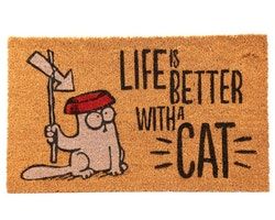 Simons Cat matta - Life is Better with Cat