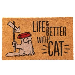 Simons Cat matta - Life is Better with Cat