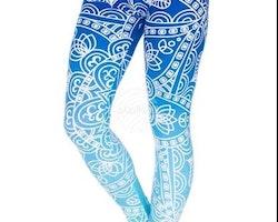 Leggings - Mönster - Ljusblå
