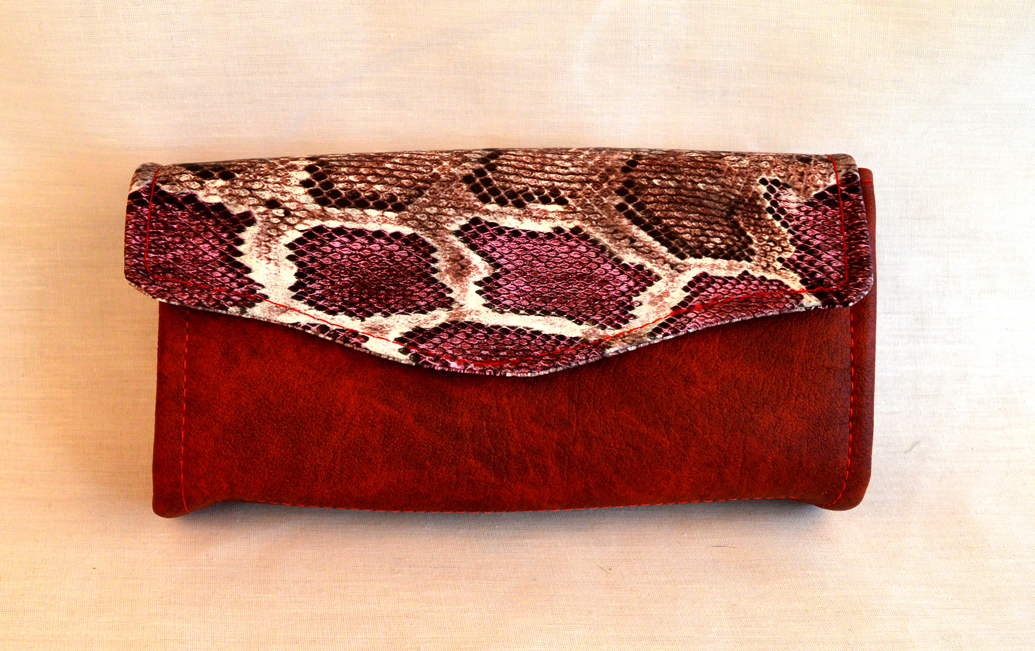 Plånbok - Ormskinn - Röd